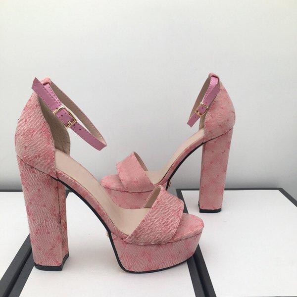 top popular Fashion sandals summer women Shoe Buckle Strap heeled Platform Slides chunky Heel Rubber sole Black womens Shoes High quality sandal Free postage 34-42 2021