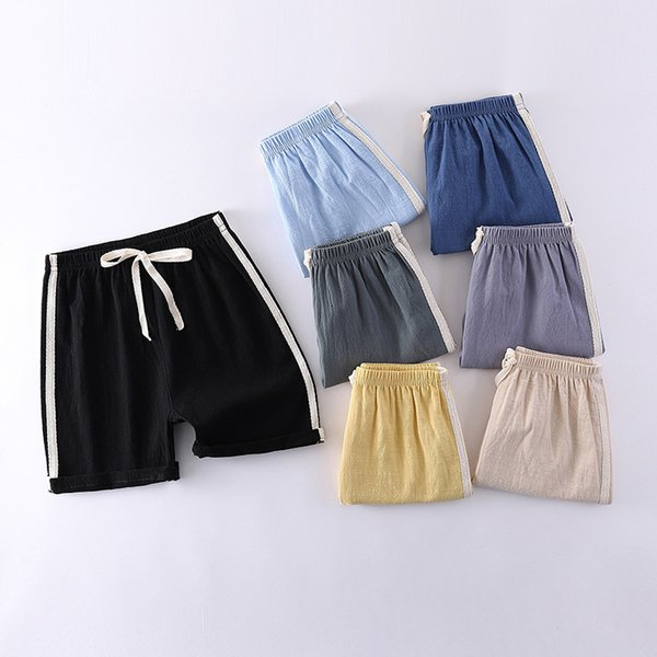 top popular 2021 Summer Children's Thin Shorts Men's and Women's Solid Sports Baby Capris Boys' Loose Beach Pants 2021