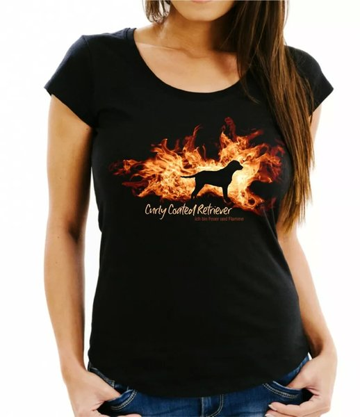 Ladies T-Shirt Curly Coated Retriever fire and flame by siviwonder Dog Motif