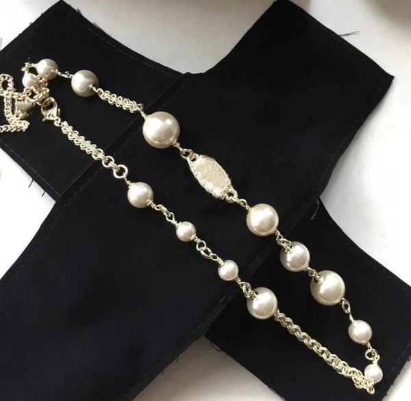 best selling Women designer jewelry Pearl Chain Orbit Necklace Clavicle Choker Necklaces for Gift with special box good qualit