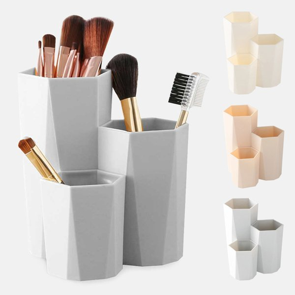 3 Lattices Cosmetic Makeup Brush Storage Box Make Up Nail Polish Cosmetic Holder Makeup Brush Tools Brush Holder Table Organizer