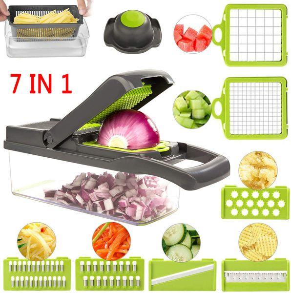 7 In1 Vegetable Chopper Spiralizer Food Slicer Grinder Grater Cuber for Onion Carrot Tomato Potato Peeler Kitchen Fruit Cutter