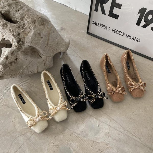 Furry Flats Shoes Women Winter Velvet Fur Slip On Loafers Rhinestone Bow Casual Shoes for Women Winter 2021 New Square Toe Flats