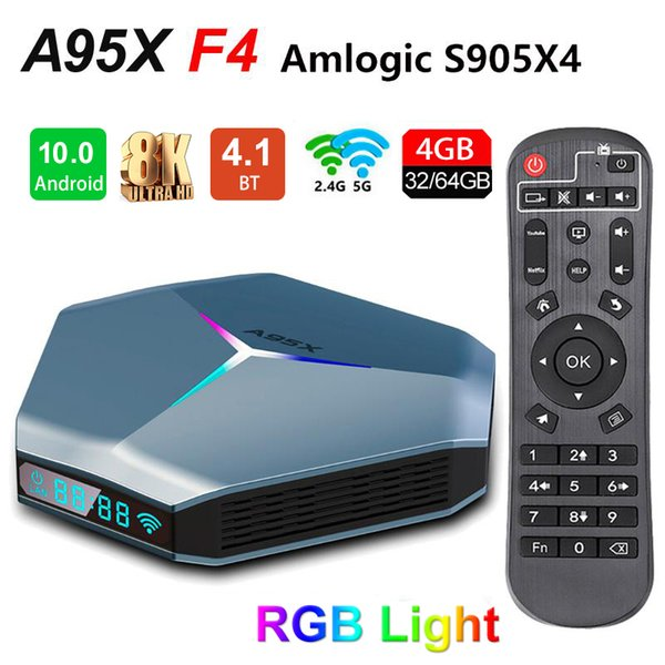 best selling A95X F4 TV Box Android 10.0 Amlogic S905X4 4GB 32GB 64GB 128GB Rom 2.4G 5G WiFi 2T2R Bluetooth 8K Set Top Boxes