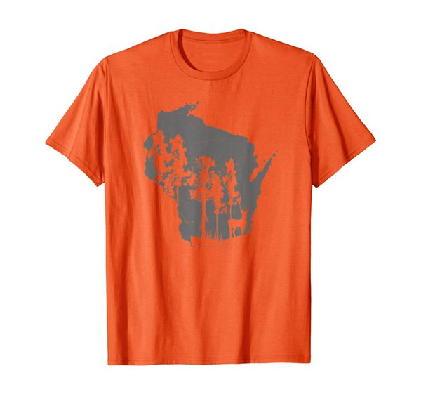 Proud Wisconsin Deer Hunter State Map Outline T-Shirt