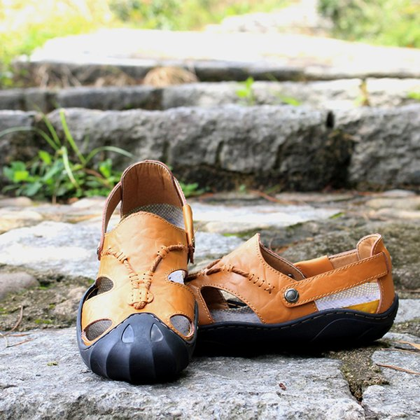 2021 New Casual Men Soft Sandals Comfortable Men slippers Summer Leather Sandals Men Roman Summer Outdoor Beach Sandals Big Size