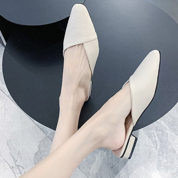 2021 Womens Shoes Pu Fashion Mules High Heel Sandals Slippers Slides Slip On Shoes Women Dress Office Shoes Lady Pointed Toe