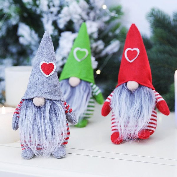 top popular Merry Christmas Heart Hat Swedish Santa Gnome Plush Doll Ornaments Handmade Elf Toy Home Party Decoration 2021