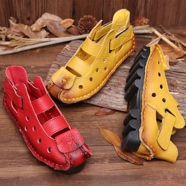 Hot Sale-New Soft Bottom Flat Women Loafers Genuine Leather Shoes Casual Women Sandals Ladies Shoes Vintage Handmade