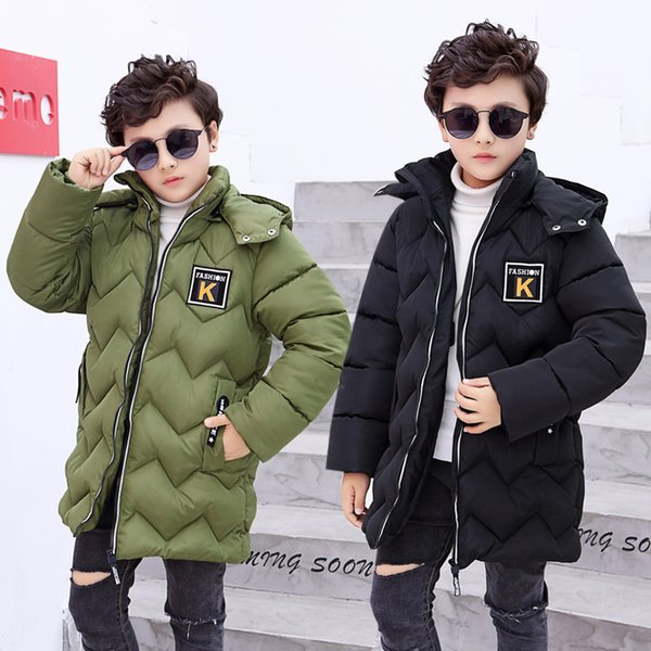 INS HOT boys winter coat 4-13 Years old childrens thickened K-marked cotton coat winter jacket for boy Wavy quilted hooded