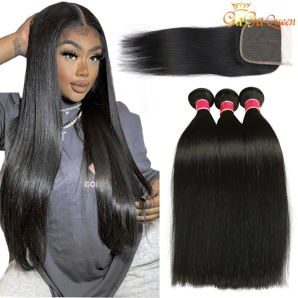 top popular Peruvian Straight Human Hair Bundles with Closure Peruvian Virgin Hair With 4x4 Lace Closure Peruvian Malaysian Indian Hair Bundles 2021