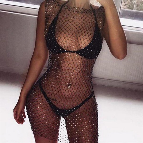 top popular Sexy Women Dress Summer Beach Dress Lace Net Cover Up Bathing Suit 2021 Newest Summer robe femme ropa mujer Elegant 2021