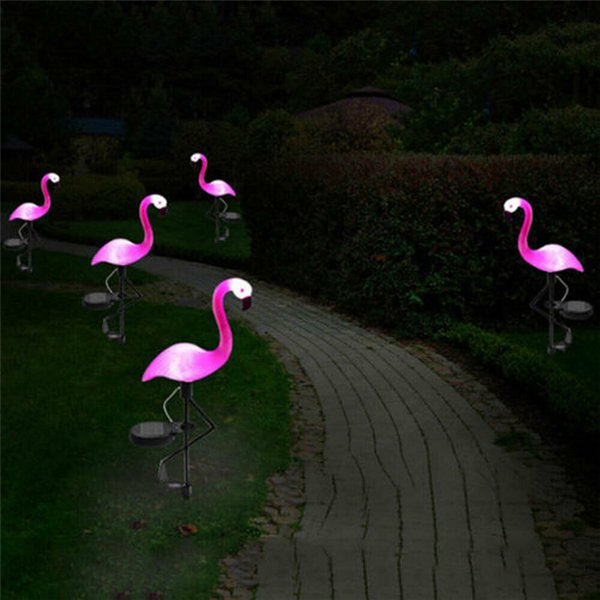 Solar Power Garden Light Beautiful Pink Flamingo Lawn Decor Garden Stake Landscape Lamp Outdoor Lighting
