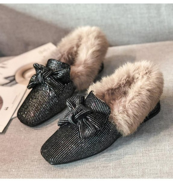 40 Big Size Fur Loafers Shoes Women Winter Warm Loafers Flats 2021 New Lady Bow Casual Shoes Slip On Lazy Shoes Loafers