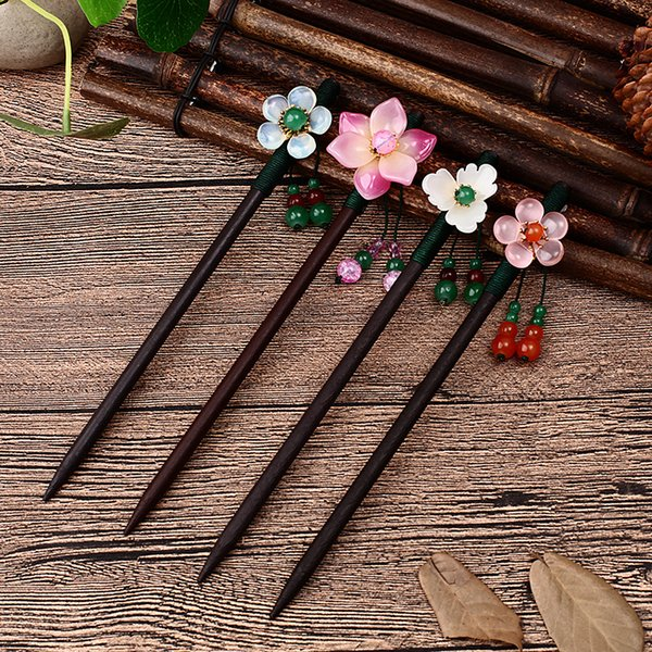 Newest Flower Hair Forks Retro Style Long Tassels Hairpins Clips Wooden Hair Sticks Pearls Bead Step Shake Chinese Wedding Bride
