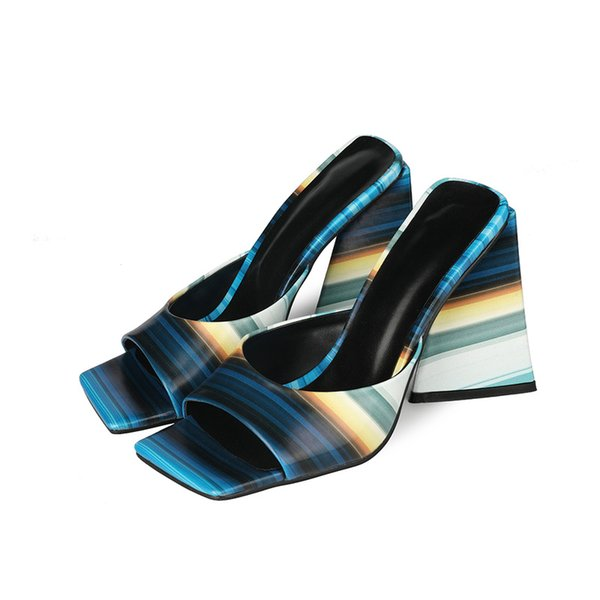 High-heeled slippers women summer outdoor sandals 2021 sexy high-heeled shoes painted stripedwomens shoes sandals slipperswomen