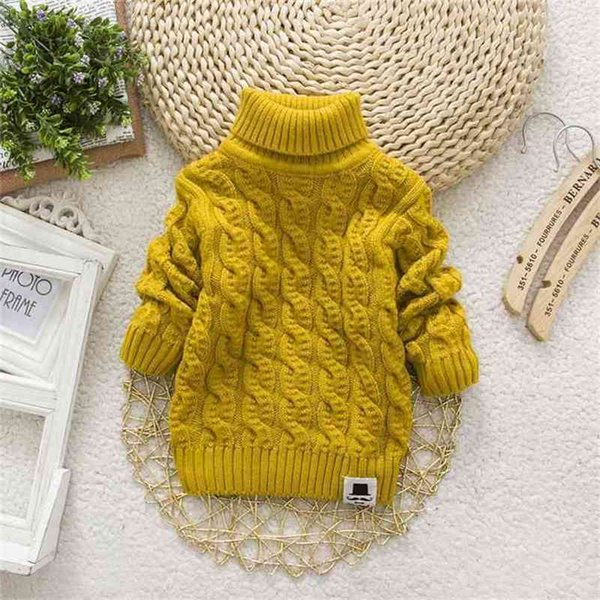 top popular PHILOLOGY around twist pure color winter boy girl kid Knitted bottoming turtleneck shirts solid high collar pullover sweater 210811 2021