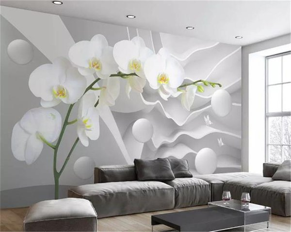 top popular Custom 3d Mural Wallpaper Dabstract Space Phalaenopsis Ball Living Room TV Background Bound Wall Home Improvement Silk Wallpapers 2021