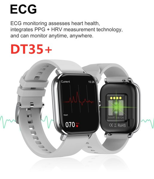 best selling Fitness Tracker DT35 Plus Smart Watch 1.75 inch Full Screen IP67 Waterproof ECG Health Bracelet Bluetooth Call Heart Rate Temperature