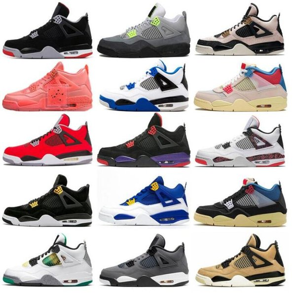 top popular 4 4s 2021 With Shoe Box designers sail Neon metallic purple basketball Union noir guava ice Jumpman Mens Shoes Sneakers Black cat bred Fire 2021