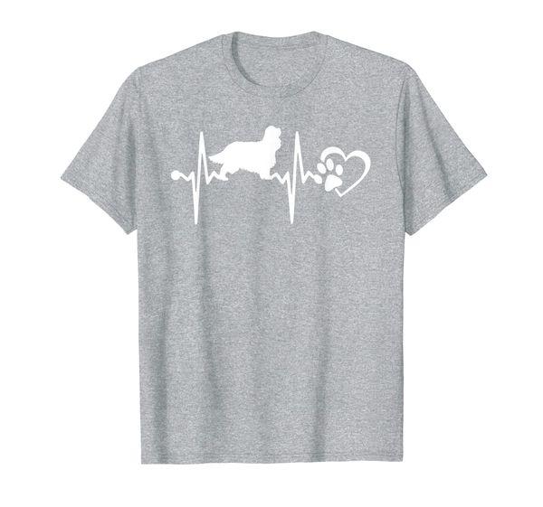 Cavalier King Charles Spaniel Love Dog Heartbeat T Shirt Men
