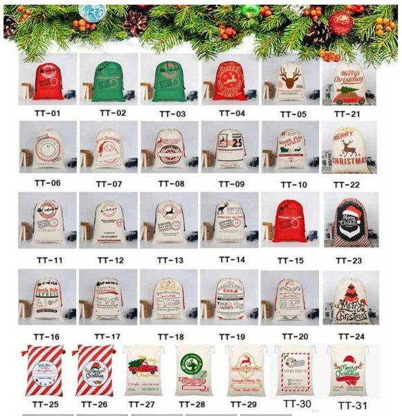 best selling US stock DHL fast Christmas Gift Bag Sack Drawstring Santa Claus Cotton Storage Candy Bag Large Kids Toy Party Decoration CS10