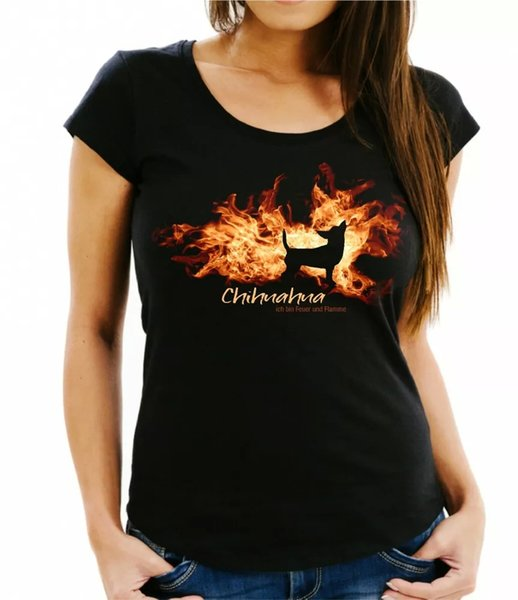 Ladies T-Shirt Chihuahua fire and flame by siviwonder Dog Motif