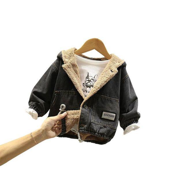 HOT baby boy and girls winter coat Thick denim jacket Cartoon patch hooded unisex clothing girls winter coat Lamb hair lining