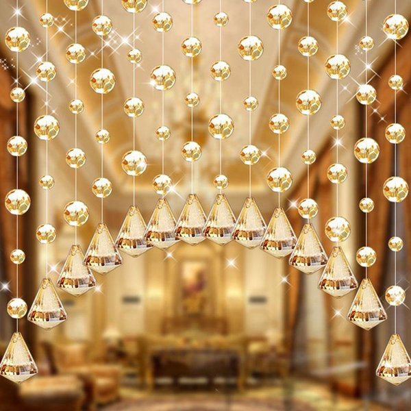 top popular Curtain & Drapes 1pcs Glass Crystal Bead Panel Hanging Creative String For Living Room Bedroom Window Door Ornaments 2021