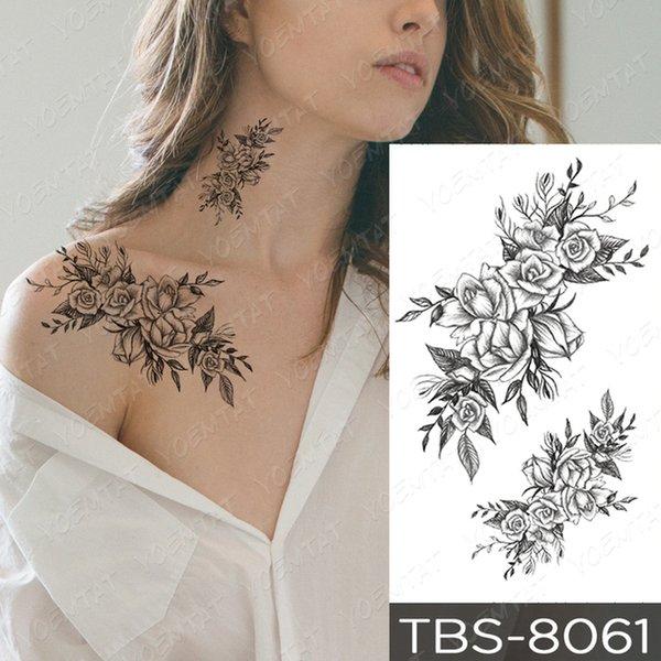 attoo & Body Art Temporary Tattoos Waterproof Temporary Tattoo Sticker Black Sexy Flower Snake Mandala Flash Tatoo Henna Body Art Tra...