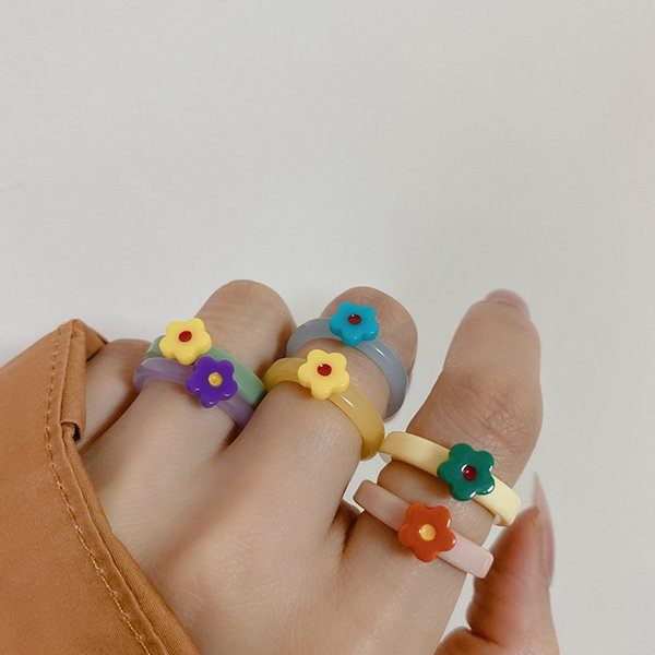 Simple Band Rings niche design fashion candy colors flower matching joint-ring retro unique diamond acrylic resin color stackable non-fading ring jewelry gift