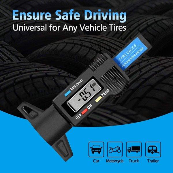 best selling 0-25.4mm Digital Tire Tread Depth Gauge Meter Measurer High Precision Tool Thickness Gauges Car Tires Vernier Caliper Measuring Gauging Tools