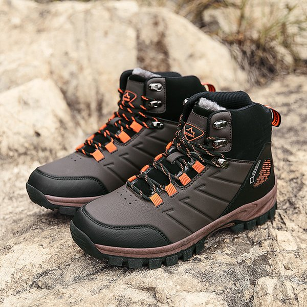 Brand Winter Mens Boots Warm Mens Snow Boots High Quality Leather Waterproof Men Sneakers Outdoor Men Hiking Boots Work Shoes