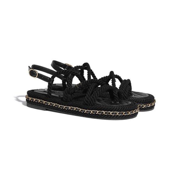 top popular 2021 hemp rope woven metal chain women's flat sandals slipper designer fashion soft luxury elegant simple material shoes comfortable design 2021