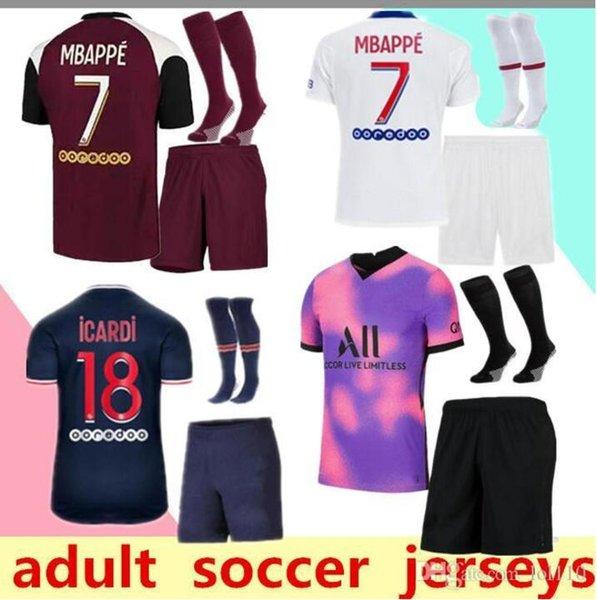 2020/21 Paris soccer Jerseys adult kit 20/21 paris mbappe home away third VERRATTI CAVANI MAILLOT DE FOOT Paris adult SHIRT MEN KIT