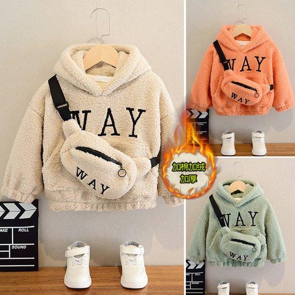 2021 Boys Girls Sweatshirts With Bag Winter Wool Thick Children Hooded Long Sleeves Sweatshirt Unisex Warm Boy Kids Sweatshirts