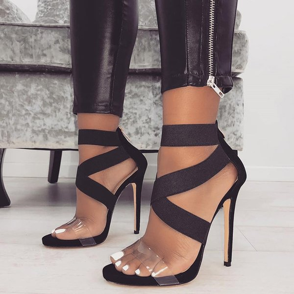 Womens Sexy Sandals Snakeskin Pumps Transparent Stilettos Summer Female High Heels Transparent Zipper Cross PU Shoes Woman 2021