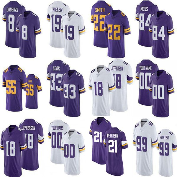 top popular Justin Jefferson Patrick Peterson Mens Womens KIDS Custom Jerseys Randy Moss Adam Thielen Kirk Cousins Dalvin Cook Danielle Hunter Harrison Smith Korey Stringer 2021