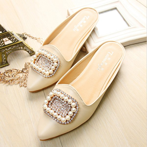 Women Shoes Summer Half-slipper Mules Sexy Pearl 2021 New Flat Pointed Slippers Shoes Lady Casual Mules Black Shoes