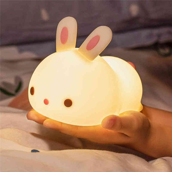 Baby refillable night-light silicone rabbit or cool-colored kid changing bright nightlight bulb