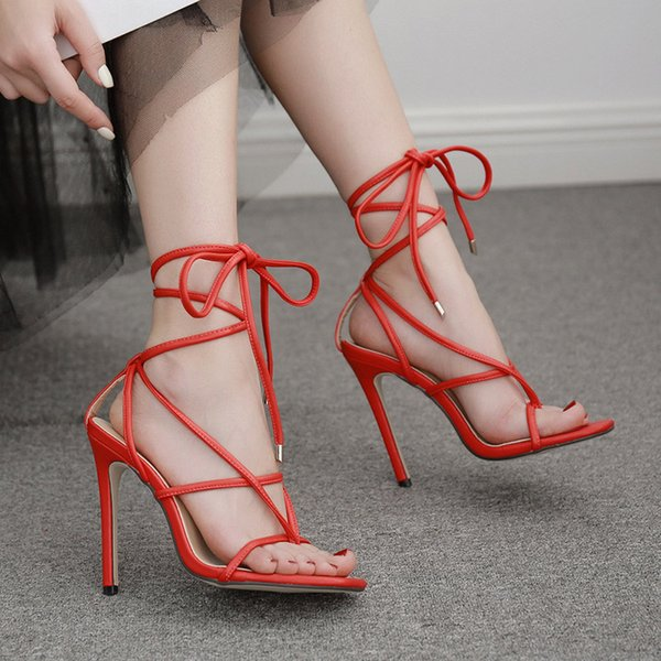 Women Sandals PU Sexy Snake print Cross tied Thin Heels Ladies High Heels Lace Up Square Toe Female Summer New Woman Party Shoes