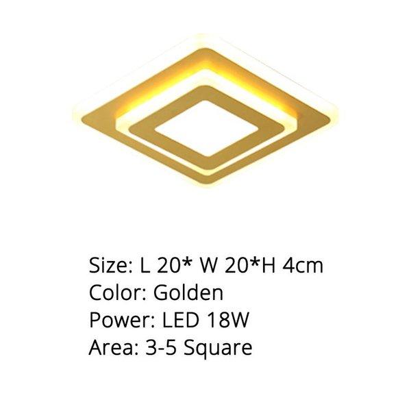 Gold Square 20 cm 18W blanco cálido No