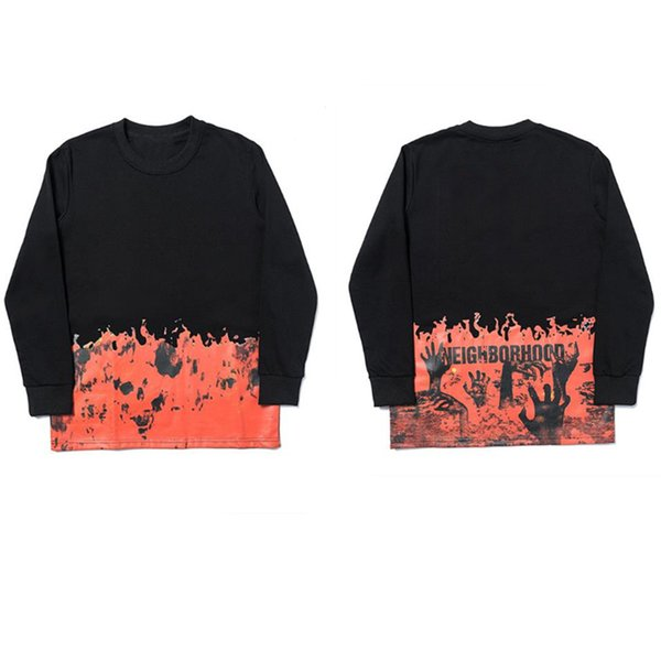best selling mens shirts Sweater hoodie T-shirt big V flame skeleton women's hip-hop pullover long sleeve Splicing European size S-XL Streetwear Spring and autumn
