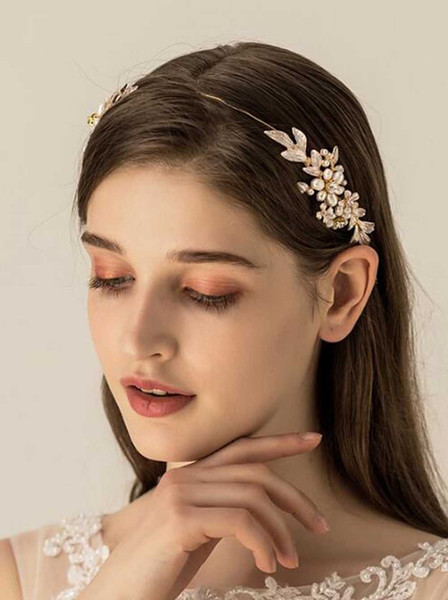 Women and Bridal Gold Leaves Flower Headband for Wedding Prom Party -Bridal Headpiece