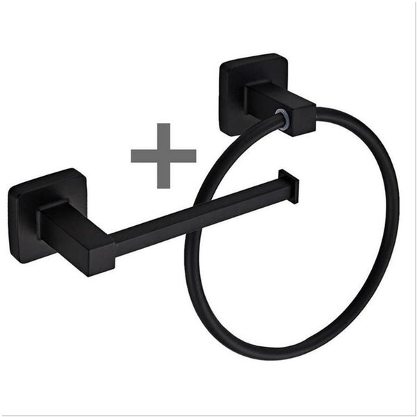 best selling Square Bathroom Toilet Roll Holder & Towel Ring Set Stainless Steel Black Hanging Cost Rack With Screws Fittings Kit Rings