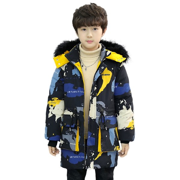 Russian winter Baby boys winter coat thickening warm parka 5-13 years old fur collar and Big pocket Camouflage print long coat