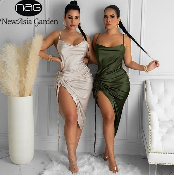 best selling Ruched Satin Summer Dress Drawstring Spaghetti Straps Cowl Neck Backless Long Dresses for Women Party Sexy 2021