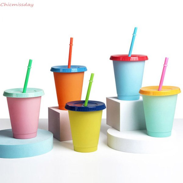 473ml/16oz Reusable Color Changing Cold Cups Plastic Tumbler With Lid And Straw Cold Cup Straw Cup Drinkware Christmas Gifts