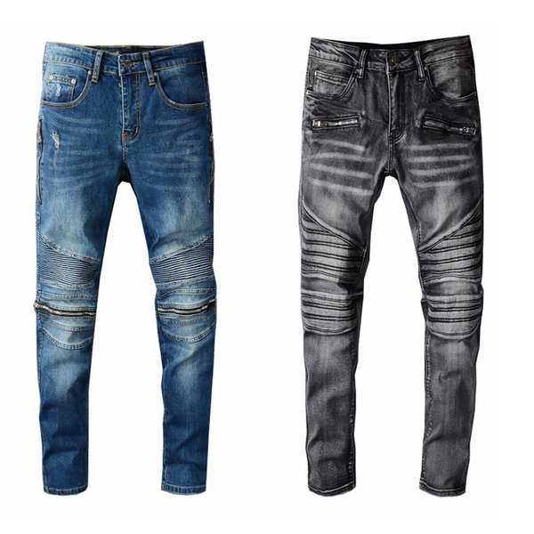 top popular Men Jeans New Fashion Mens Stylist Black Blue Jeans Skinny Ripped Destroyed Stretch Slim Fit Hop Hop Pants With Holes For Men 2021