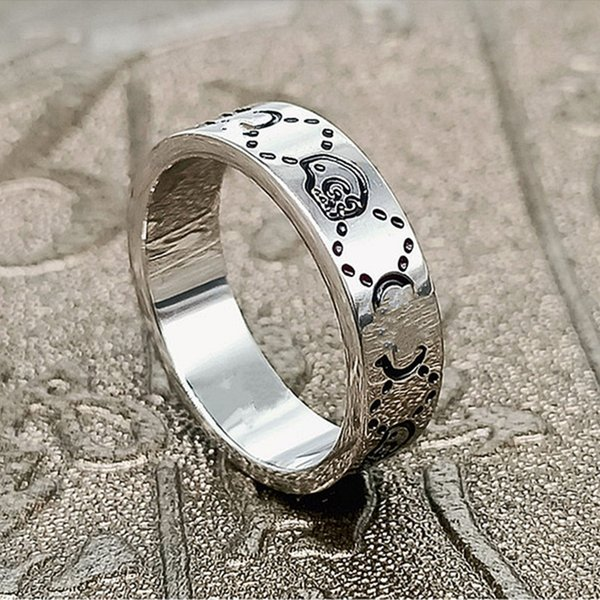 best selling Fashion 925 sterling silver skull band rings 6mm for women and mens lovers Luxury Party promise championship jewelry gift